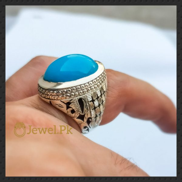Natural Turquoise - Feroza Ring in 925 Silver Chandi