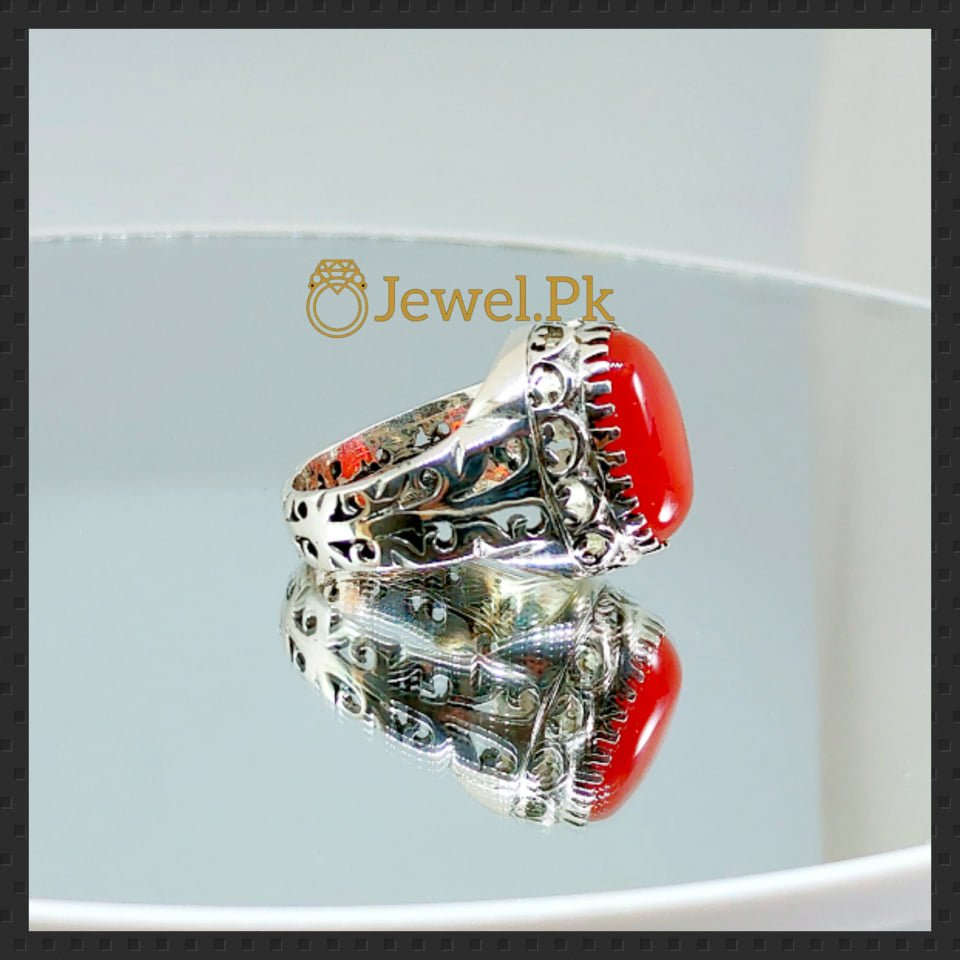 Brown+Red Aqeeq Ring in silver 925